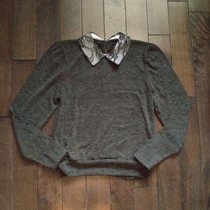 Zara Lace Peter Pan Collar Long Sleeve Knit Size S